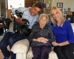 KNBC Crew with SAC. Angie Crouch interviewed Susan. Bob the camerman is also a Navy Veteran.